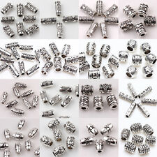 15-100PCS Floral Tube Oval Shape Tibetan Silver Spacer Beads For Craft Jewelry