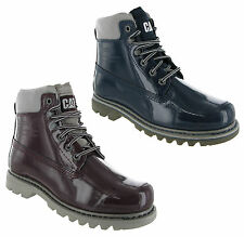 New Womens CAT Caterpillar Bruiser Patent Leather Shiney Ankle Boots Size 3-8