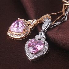 Shining pink sapphire Chain 18k  gold filled luxury pendant long necklace