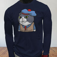 Funny Lover Cartoon Scottish Fold Cat in Suit Cute Mens Navy Long Sleeve T-Shirt