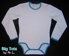 Adult Baby White w/blue long sleeve Bodysuit  *Big Tots by MsL*