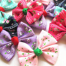 New 5/20PCS Grosgrain Ribbon Flowers Bows Appliques Wedding Decor Lots Mix