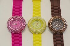 NEW GENEVA BLING GLITZ CRYSTALS SILICONE ROUND DIAL WATCH