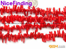 """Red Coral Branch Stick Stone Loose Beads For Jewelry Making Gemstone Strand 15"""""""