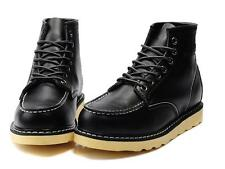 New Fashion Mens High Top Wedge Leather Lace-up Work Military Ankle Boots Shoes