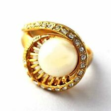 fashion Gold Filled Created pearl/Clear CZ Womens Ring jewelry Size 7,8,9