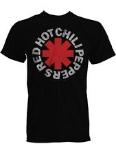 Red Hot Chilli Peppers Red Asterisks Mens Black RHCP T-Shirt