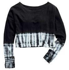 Harley-Davidson Women's Cropped Tie Dye Top Tee Long Sleeve, Black. 96132-15VW