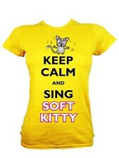 Keep Calm and Sing Soft Kitty Ladies Yellow T-Shirt