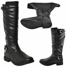 New Womens Riding Knee High Boots Casual Western Double Adjustable Buckles Black