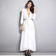 Sexy Women Deep V-Neck with Belt White Cocktail Evening Party Dress Maxi Dress