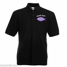 X2 Personalised Polo Shirts Embroidered Jesus Fish Logo With Text