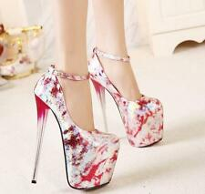 New Sexy Womens Ankle Strappy Super High Heel Platform Fashion Party Shoes Size
