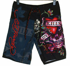 Bnwt Mens Ed Hardy Board Swim Surf Shorts Love Kills Slowly New Black