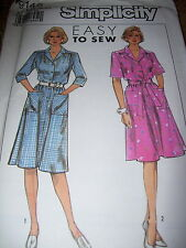 SIMPLICITY #9146 - LADIES CUTE SHIRT DRESS w/SLEEVE VARIATIONS PATTERN  16-24 uc