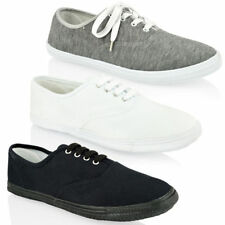 MENS BOYS LACE UP CANVAS CASUAL PLIMSOLES PLIMSOLLS RETRO TRAINERS SHOES SIZE