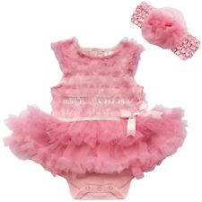Baby Girl Newborn Infant Romper Dress+headband set Vest Tutu outfit clothes 3-9M