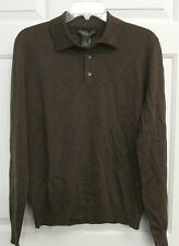NWT BLOOMINGDALES THE MENS STORE LIGHTWEIGHT MERINO WOOL POLO SWEATER CHESTNUT