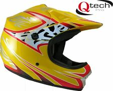 Children's Kids MOTOCROSS Crash Helmet Off Road BMX Dirt Mountain Bike - YELLOW