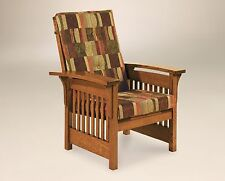 Amish Handcrafted Accent Chair Mission Arts & Crafts Slat Upholstered Solid Wood
