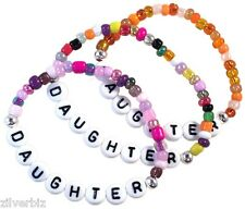 DAUGHTER Glass Seed Bead Elastic BRACELET 9 Colours Letter Beads Size Choice