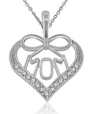 VVS1/D Genuine 0.25Ct Diamond Gift For Mothers Heart Pendant Necklace14Kt Gold