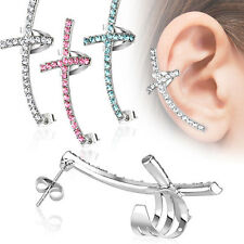1 Pc Left Or Right Cross Gem Paved Ear Cuff Earring 316L Surgical Steel 3 Colors