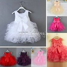 Baby Flower Girl Princess Bow Dress Xmas Wedding Party Pageant Tulle Dress 3-24M