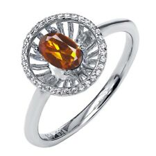 0.88 Ct Oval Orange Red Madeira Citrine 925 Sterling Silver Halo Ring