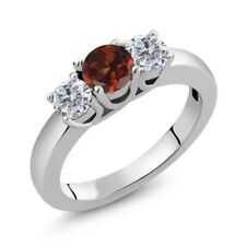 1.05 Ct Round Red Garnet G/H Diamond 14K White Gold Ring