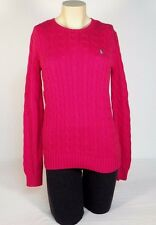 Ralph Lauren Sport Pink Cable Knit Crew Neck Cotton Sweater Womens NWT