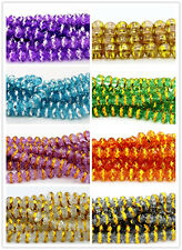 24pcs 6x8mm Faceted Rondelle Crystal Loose Spacer Beads Multi Color
