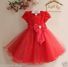R8018 Reds Christening Christmas Wedding Party Flower Girls Dresses SIZE 2 to10Y