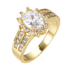White Oval Sapphire Crystal 10Kt Yellow Gold Filled Women's Wedding Ring Sz 5-12