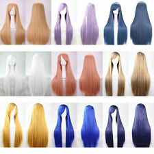 New!Fashion Long Anime Wigs Party Cosplay Straight Womens Hair Full Wig w/Cap
