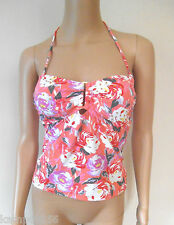 New Next Coral Pink Floral Bandeau/Halterneck Tankini Top Sz UK 8 10 12
