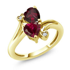 1.71 Ct Red Created Ruby Red Rhodolite Garnet 18K Yellow Gold Plated Silver Ring
