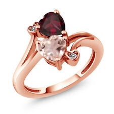 1.45 Ct Heart Shape Rose Rose Quartz Red Rhodolite Garnet 14K Rose Gold Ring