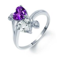 1.63 Ct Heart Shape Purple Amethyst Sky Blue Topaz 14K White Gold Ring