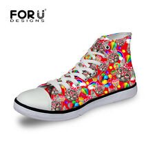 Cats Trendy Women Lady Canvas Flats High Top Lace Up shoes Loafers Sneakers New