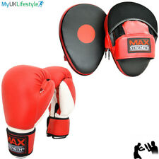 Boxing Bag Gloves and Curved Focus Pad Sets Training Mitts Sparring Hook Jab MMA