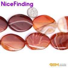 """Natural Oval Banded Smooth Sardonyx Agate Beads For Jewelry Making Gemstone 15"""""""