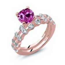 2.94 Ct Round Pink Created Sapphire White Topaz 18K Rose Gold Plated Silver Ring