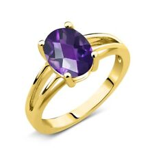1.50 Ct Oval Checkerboard Purple Amethyst 18K Yellow Gold Plated Silver Ring