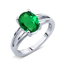 1.50 Ct Oval Green Simulated Emerald 925 Sterling Silver Solitaire Ring