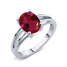 2.00 Ct Oval Red Created Ruby 925 Sterling Silver Solitaire Ring