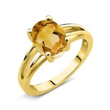 1.50 Ct Oval Yellow Citrine 14K Yellow Gold Solitaire Ring