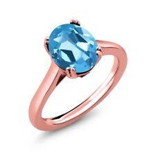 4.03 Ct Oval Swiss Blue Topaz White Diamond 18K Rose Gold Plated Silver Ring