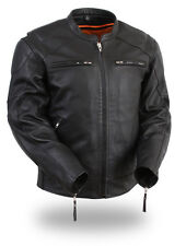 First Manufacturing Mens Speed Demon Black Soft Milled Leather Motorcycle Jacket
