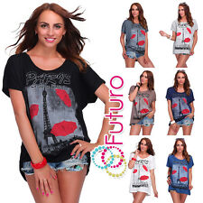Gorgeous Ladies T-Shirt Eiffel Tower Print Top Paris Over Size 16-20 FB264